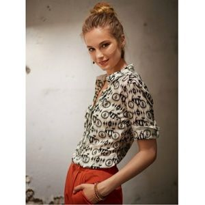 Maeve   Bicycle Print Button Down Blouse